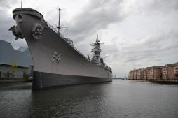 Bateau de guerre USS Wisconsin à Norfolk
